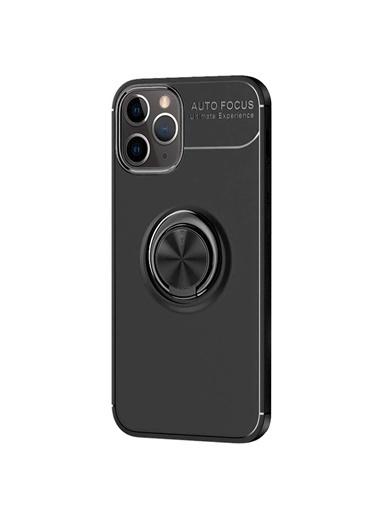 Microsonic Apple iPhone 12 Pro Kılıf Kickstand Ring Holder Siyah